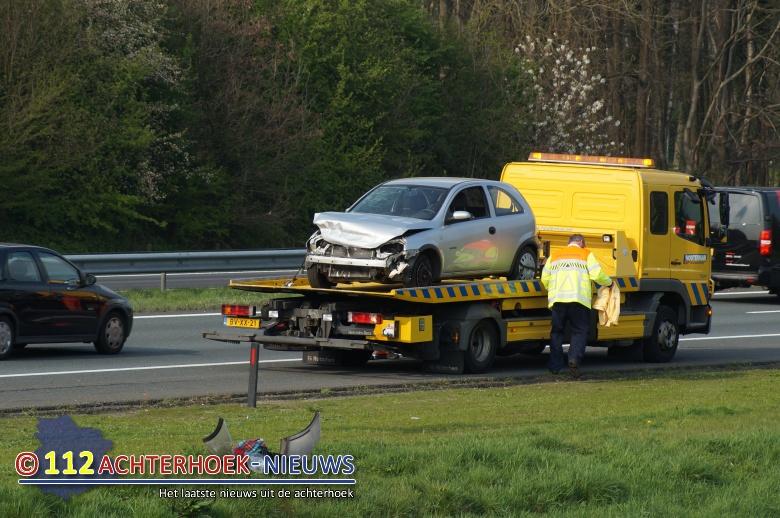 Korte file door ongeval op de A18 bij Didam.