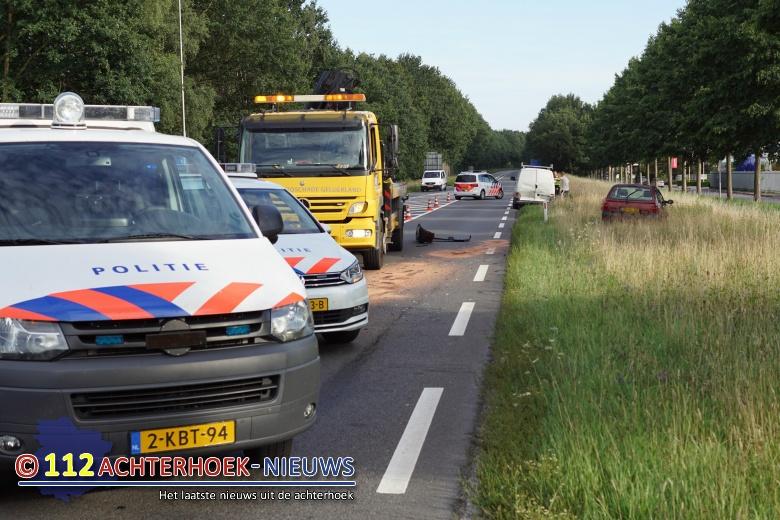 Automobiliste gewond bij kop staartbotsing op de N18 in Groenlo.