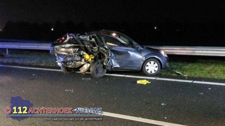 Kop-staart aanrijding op de A18 bij Didam: Een gewonde.